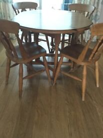 English Pine Table and Chairs