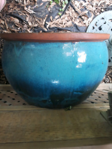 Large blue clay flower pot