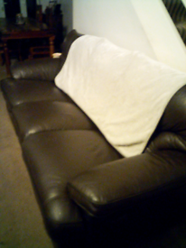 3 seat brown leather recliner fantastic condition