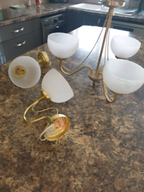 2 wall lights and 1 ceiling light.