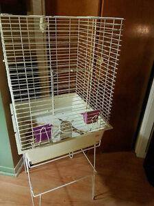 Cage blanche avec accessoires