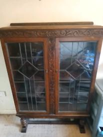 Vintage oak book cabinet