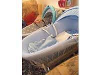 Wicker Moses basket like new!! With rocking stand