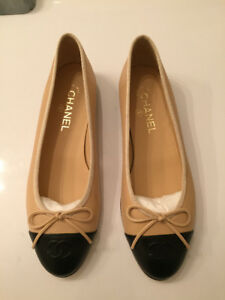 Authentic Chanel Cap Toe Flats in beige/tan and black - size 9