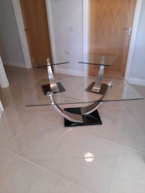 Glass Coffee Table and 2 Lamp Tables