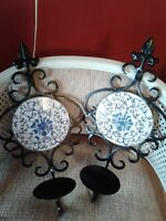 "VTG-19"" HIGH CAST IRON WALL CANDLEHOLDERS  WITH TILE-BLUE/MAUVE"