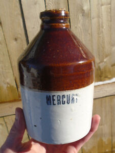 "ANTIQUE 1920-30's ""MERCURY"" APOTHECARY DENTISTRY STONEWARE CROCK"