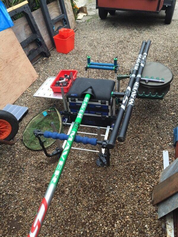 Huge match fishing set up seat box m maver pole in