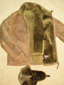 Brand new genuine sheepskin men jacket and hat set on size M