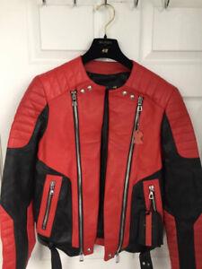 BALMAIN X H&M RED LEATHER BIKER JACKET BRAND NEW SIZE US 36