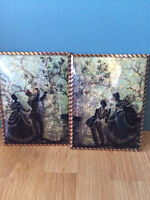 Set of 2 Reverse Paintings on Convex Glass