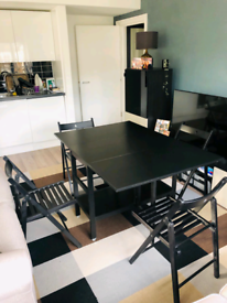 IKEA Folding Dining Table In Black With 4 Dining Chairs