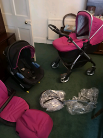 Silver Cross pram, pushchair and carse at with base
