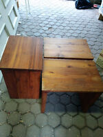 SET OF THREE SOLID CEDAR SIDE TABLES FOR SALE