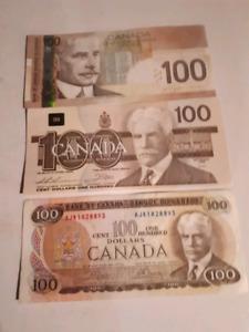 Canada bank note $100 dollar bills $110 EACH