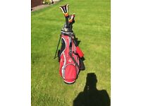 Golf clubs and carry bag