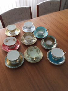 A Collection of 9 fine tea cups