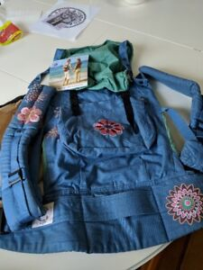 Organic Ergo baby carrier- blue and green with embroidery