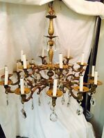 18 arm large solid brass chandelier with large crystals