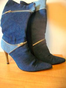 Elegant jeans boots with zippers for spring & fall Cambridge Kitchener Area image 2