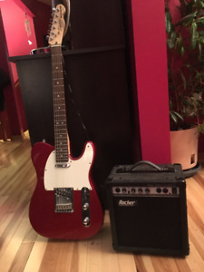 Squire Fender Telecaster Standard Electric Guitar and amp