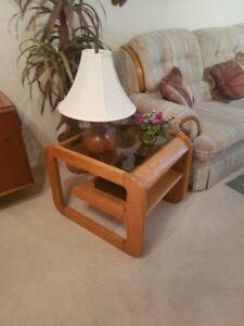 3 piece wood / glass living room set