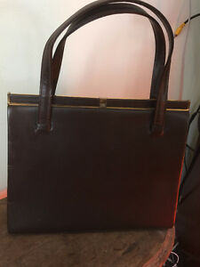 Mid Century Brown Leather Kelly Bag