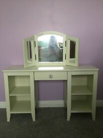 Girls dressing table with mirror and stool.