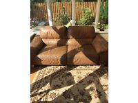 3+2+1 seater brown leather sofa