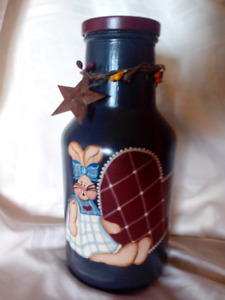 Primative Hand painted bunny bottle