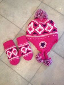Toddler 1-3 girls hat & mitts set