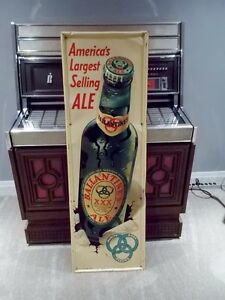 EMBOSSED TALL Early 50's Ballantine Ale Outdoor Tin Adv. Beer London Ontario image 1