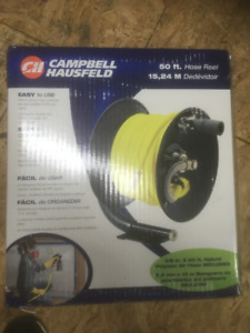 Air hose and reel, work seat, tire holder