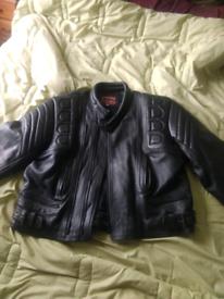 Motorcycle black leather jacket size 50