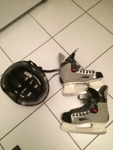 BOYS BAUER SKATES SIZE 3.1/2 WITH HELMET GOOD CONDITION all $15