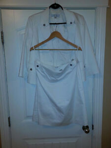 Tahari  white skirt suit suze 14