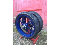 Aprilia Wheels With Wets On A Stand