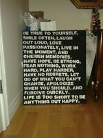 Homemade Chalk Board/Wall Art with saying on it