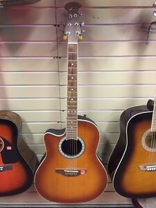 Left handed ovation acoustic electric guitar