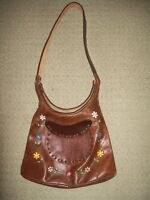 Vintage 1970s hand-tooled leather tote