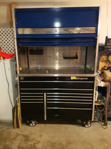 Snap on tool box with hutch and bulk overhead cabinet