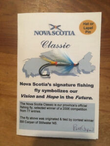 NS Classic Fishing Fly hat/lapel pin Shipping incl