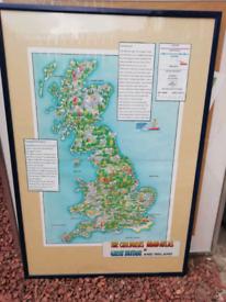 Framed map of England