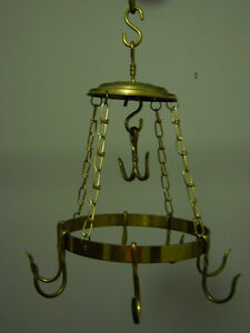 Large Brass Pot Hanger with Hooks
