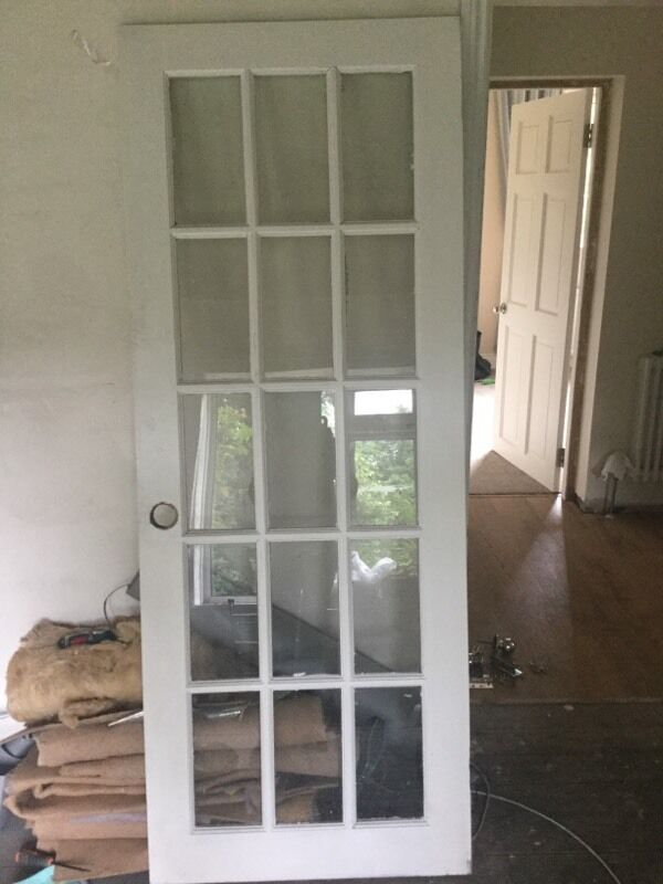 internal white primed solid wood 15 glass panel door in