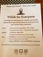 Yoga classes offered in Stratford