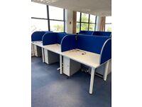 Bank of 6 Back To Back Bench Desks + Screens & Pedestals, White