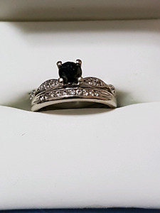 Canadian Black Diamond engagement ring and Band