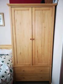 Oak wardrobe with drawers