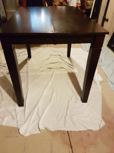 Pub Style, Dark Finish Wood Dining Table with Leaf Insert